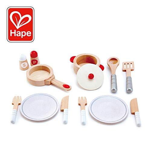 Hape Gourmet Play Kitchen Starter Playset | Wooden Pretend Play Cooking Set for Kids Kitchen, Wood Pan, Pot, Plates, Utensils & Cooking Accessories ()