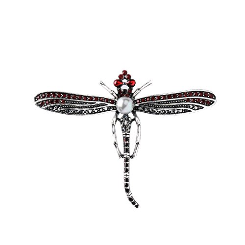 She Lian Vintage Rhinestone and Imitation Pearl Dragonfly Brooch Pin (Antique Silver Tone)