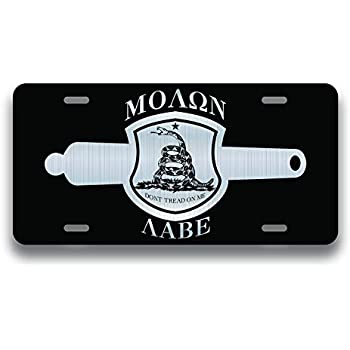 Molon Labe Gadsden Flag Crest License Plate Tag Front Aluminum 6 Inch By 12 Inch