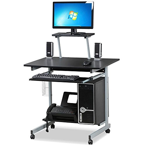 Yaheetech Mobile Computer Desks with Keyboard Tray, Printer Shelf and Monitor Stand Small Space Home Office Furniture (Black) (Office Furniture Printer Stand)