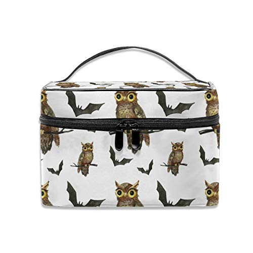 - Travel Makeup Bags With Zipper Hand Painted Halloween Owls And Bats Pattern Cosmetic Bag Toiletry Bags Train Cases Storage Bags Organizer Portable Multifunction Case For Women Girls