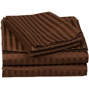 100% Egyptian Cotton 650 Thread Count King 4-Piece Sheet Set, Deep Pocket, Single Ply, Stripe, Chocolate