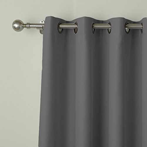 COFTY Privacy Room Divider Curtain For Hospital Ward Clinic Lab SPA Hotel Office Living Room - Anti Bronze Grommet - Grey - 8ft Wide x 8ft Height (1 Panel) by COFTY (Image #2)