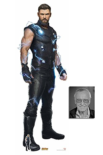 Ultimate Thor Avengers Infinity War Lifesize and Mini Cardboard Cutout Fan Pack, 190cm x 65cm, Includes 8x10 Star Photo]()
