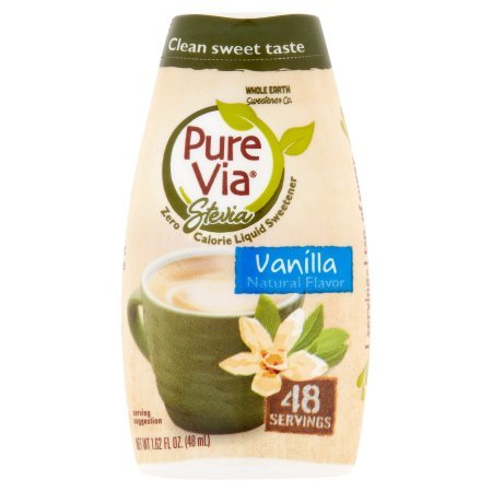 Pure Via Stevia Sweetener Vanilla Simple Squeeze Coffee Sweetener Zero Calorie Sweetener, 1.62 fl oz (Pack of 2)