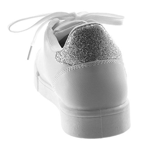 5859cabe32db3 ... Angkorly Damen Schuhe Sneaker - Sporty Chic - Tennis - Glitzer - Fertig  Steppnähte Flache Ferse