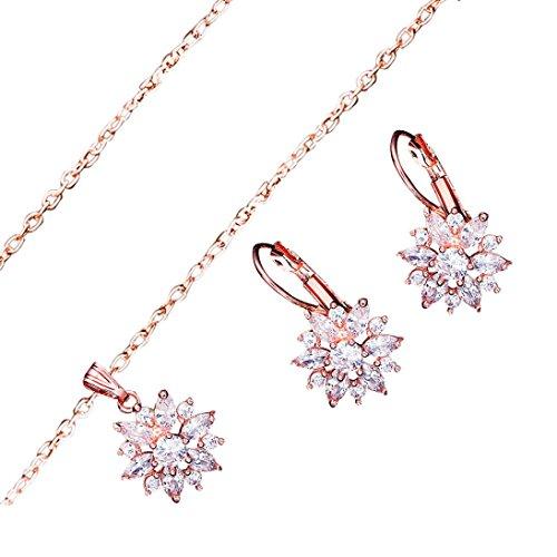- Women Elegant Necklaces,RTYou Romantic Zircon Flower Pendant Earring Necklace Ornament Jewellery Suit (Rose Gold)