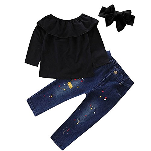 Scfcloth Kids Clothes Girls Lotus Leaf Collar Long Sleeve Tops + Long Jeans Clothing Set - Clothing Lotus Black