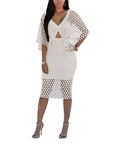 Women Cocktail Bodycon Dress Maxi Pencil Dress Puff Short Sleeve Round Collar Back Slit Casual Dress White