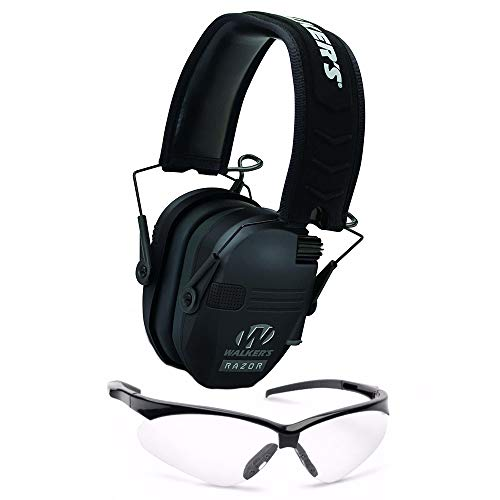Walkers Razor Slim Electronic Hearing Protection Muffs with Sound Amplification and Suppression and Shooting Glasses Kit