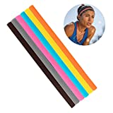 Amariver 6 Pack Thin Athletic Sports Headbands, Mini Fashion Stretchy Head Bands Headbands Hair Bands with No Slip Grip for Men, Women, Kids Sports