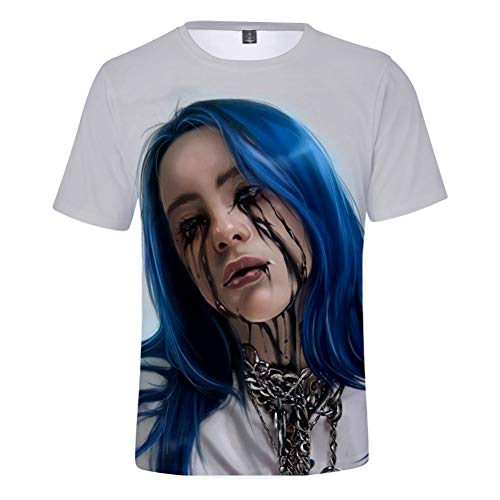 Girl's Billie Eilish Fashion Printed T Shirt, Unisex Cool T-Shirts Top Tees