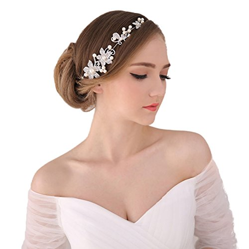 Bella-Vogue -1pcs Handmade Crystal Rhinestone+ Pearls Headdress Bridal Wedding hair accessories Headwear Headpiece Head Flower-NO.176(white)