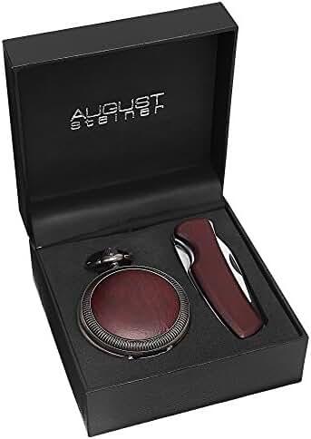 August Steiner Men's AS8145GN Wood Inlayed Quartz Pocket Watch & Folding Knife Set