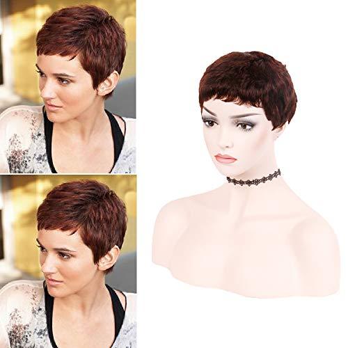 Hairphocas Human Hair Short Pixie Wig Brazilian Short Cut Wigs Pixie Cut Short Curly Wigs for Women (Reddish Brown)