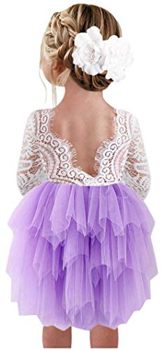 2Bunnies Girl Peony Lace Back A-Line Tiered Tutu Tulle Flower Girl Dress (Purple 3/4 Sleeve Short, 3T)