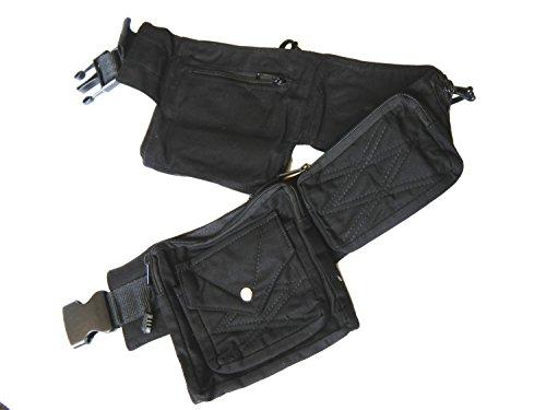 - Canvas Utility Belt | Black, 8 pockets | travel, cosplay, festival, cotton, hip bag