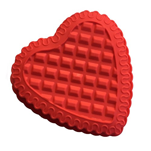 FantasyDay Heart Shaped Silicone Cake Mold Baking Pan / Silicone Mold for Anniversary Birthday Cake, Tart, Loaf, Muffin, Brownie, Cheesecake, Pie, Flan, Bread, Pudding and More #5 Heart Shaped Brownie