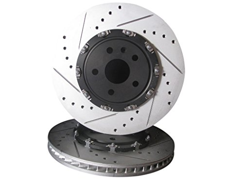 2009 thru 2014 Cadillac CTS-V Front (2-Piece) Brake Disc Rotors +Hawk Ceramic ()
