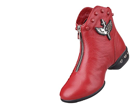 VECJUNIA Ladies Lace-Up Leather High-Top Dance Shoes Ankle Boots Short Boots Red tiZe9X