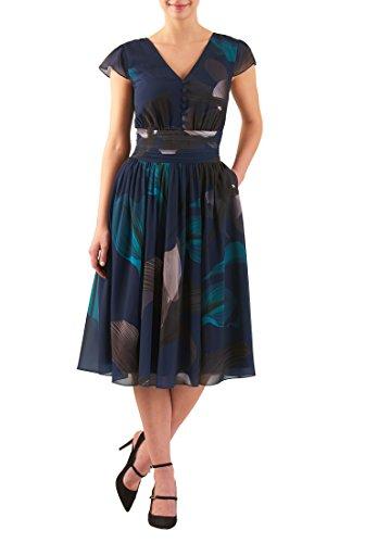 eShakti Women's Graphic print pleat empire georgette dress L-14 Tall Deep navy - Georgette Stretch Dress