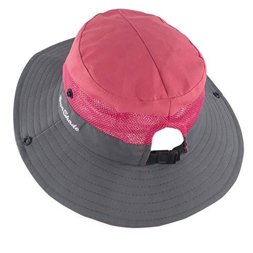 (Muryobao Women's Summer Sun Hat Wide Brim Ponytail Bucket Hats Adjustable Foldable Safari Fishing Cap for Beach Gardening Watermelon Red)