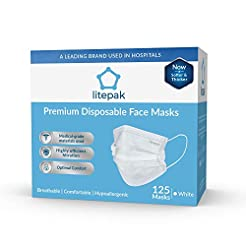 (125ct Box) Disposable Face Mask Premium...