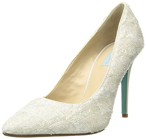 Blue by Betsey Johnson Women's SB-Clair Pump, Ivory Satin, 10 M US by Betsey Johnson
