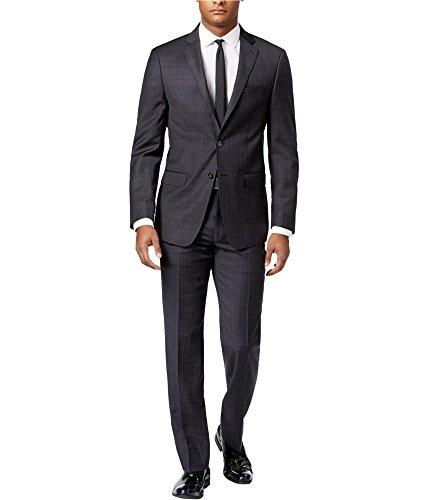 Calvin Klein Mens Windowpane Tuxedo Grey 38x37