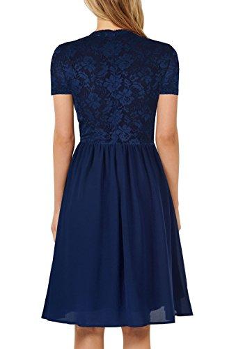 line A Darkblue Summer Causal Mmondschein Chiffon Vintage Lace Women Dress Party qXOwITH