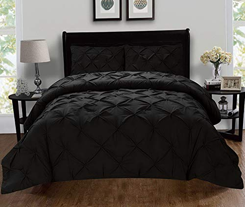 Hemau Premium New Soft Luxury Super-Soft Coziest 1500 Thread Count Egyptian Quality 3-Piece Pintuck Design Set, (Insert Comforter Protector) Wrinkle-Free, King/California King, Black | Style 503195915 for $<!--$69.99-->