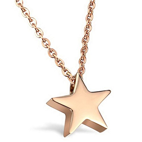 (Aokarry Women's Stainless Steel Five Point Star Pendant Necklace Rose Gold Gift for Mother's Day 16'')