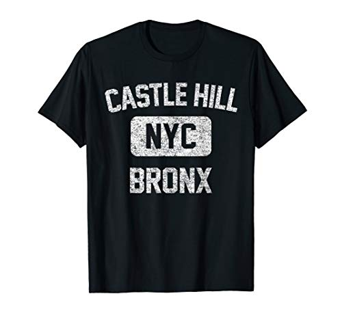 Castle Hill T Shirt - Gym Style Distressed White Print