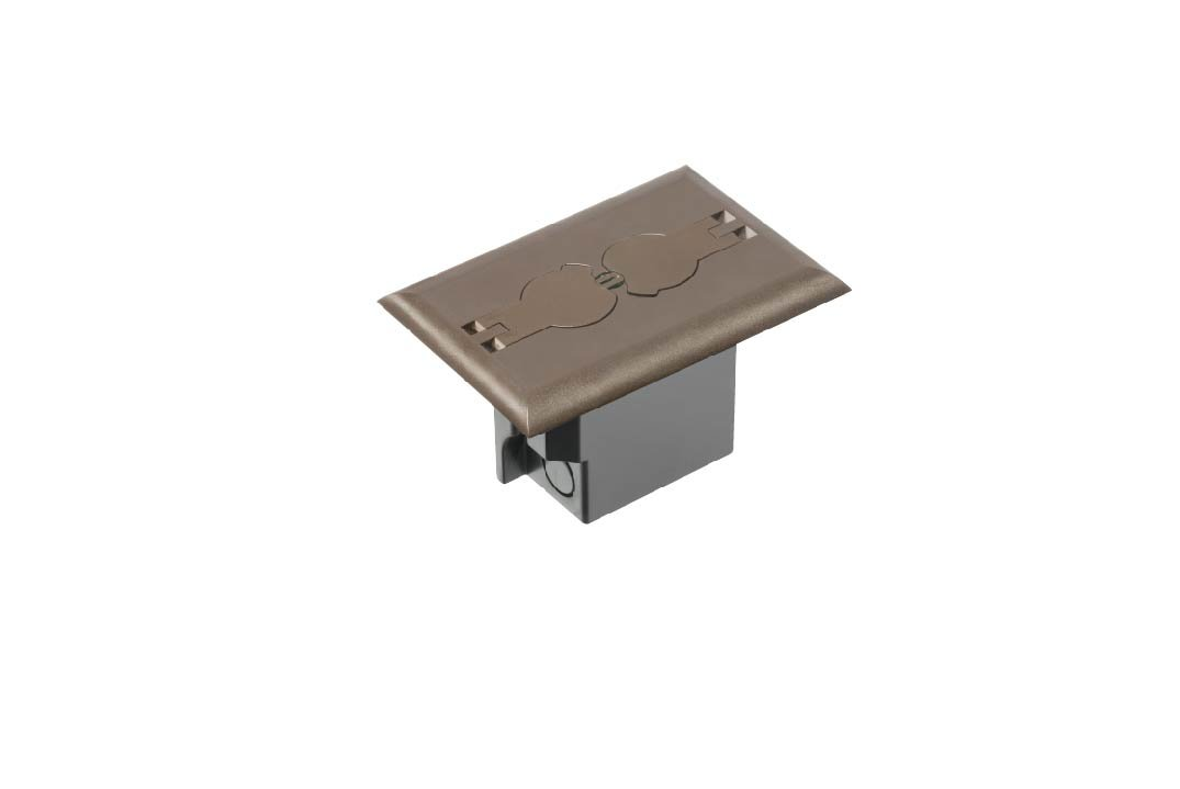 Arlington Industries FLBRF101BR-1 Retrofit Electrical Floor Box with Flip Lids for Existing Floors, Brown, 1-Pack