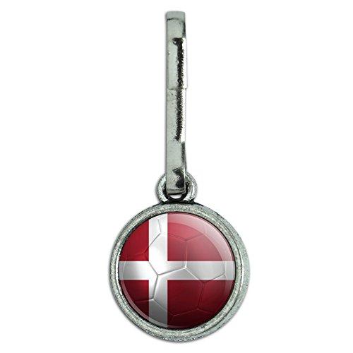 Antiqued Charm Clothes Purse Luggage Backpack Zipper Pull Soccer Futbol Football Country Flag A-I - Denmark Flag Soccer Ball