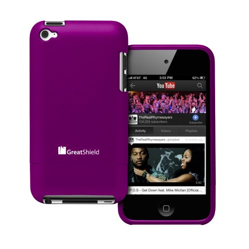 GreatShield iSlide Slim-Fit PolyCarbonate Hard Case for Apple iPod Touch 4th Generation (Purple)