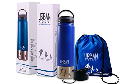 22 Ounce Insulated Canteen by Urban Hydrofit: Stainless Steel Water Bottle Travel Mug Keeps Drinks Cold 24 Hours or Hot 18 Hours plus 2 Lids and Sack