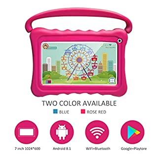 Kids Tablet 7 Toddler Tablet for Kids Edition Tablet with WiFi Camera Children's Tablets Android 8.1 Parental Control with Shockproof Case 1GB + 16GB (Rose Red)