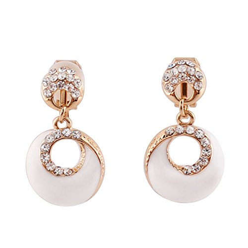 White Dangle Clip (Grace Jun Gold Plated Rhinestone Enamel Round Shape Hollw-out Dangle Earrings for Women Ear Clip (White clip-on))