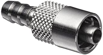 """Luer Connector - Stainless Steel 316 Male Luer Lock, For 3/16"""" Tube, Barb O.D. 0.205"""""""