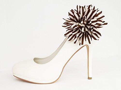La Loria Schuhclips Retro Flower, Schmuck-Accessoires für Schuhe (2 Stück) braun creme