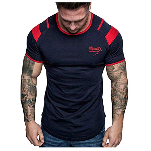 Colmkley Mens T-Shirt Printed Short Sleeve Crew Neck Muscle Casual Slim Fit Tops