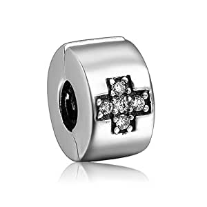 Classic Cross With White Crystal Spacer Clip Lock Charm 925 Sterling Silver SOUFEEL Jewellery Compatible by supermalls