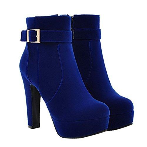 ENMAYER Frauen Nubuck Leder High Heels Runde Zehenschnalle Platform Block Fersen Solide Stiefeletten Blau