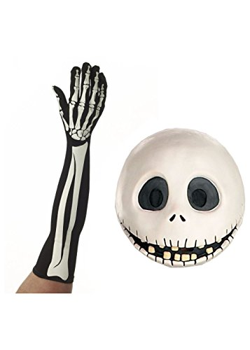 Jack Skellington Mask and Gloves Men Costume Set
