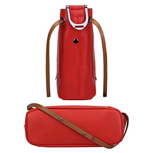 Rouge Sac à S en Bandouliere Sac Femme ZONE Sac Main Rouge Porté Epaule véritable Cuir Xqw4OFfwxn