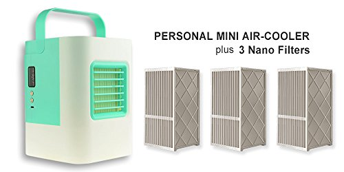 IDI Personal Mini Air-Cooler AC-01 Desktop Portable Air Conditioning USB Electric with 3 Nano Filters (Turquoise) by Worldibuy