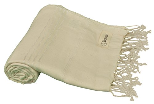Ivory Runner Roll Custom (Bersuse 100% Cotton - Anatolia Turkish Towel - Bath Beach Fouta Peshtemal - Classic Striped Pestemal - 37X70 Inches, Natural (Set of 3))