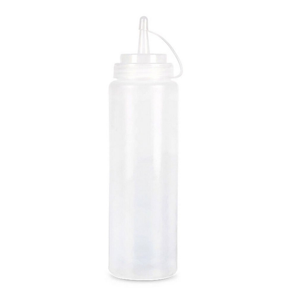 8 oz Plastic Squeeze Squirt Condiment Bottles with Twist On Cap Lids - top dispensers for ketchup mustard mayo hot sauces olive oil - bulk clear bpa free bbq (white)