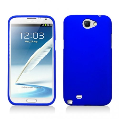 Aimo Wireless SAMNOTE2PCLP002 Rubber Essentials Slim and Durable Rubberized Case for Samsung Galaxy Note 2 N7100 - Retail Packaging - Blue